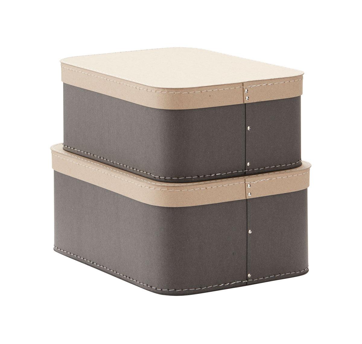 Panier & corbeille Lot de 2 Boîtes de Rangement Rectangulaires - Gris Lot de 2 Boîtes de Rangement Rectangulaires - Gris