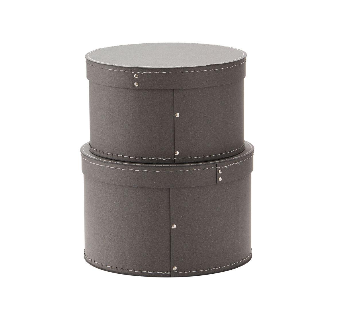 Panier & corbeille Lot de 2 Boîtes de Rangement Rondes - Gris Lot de 2 Boîtes de Rangement Rondes - Gris