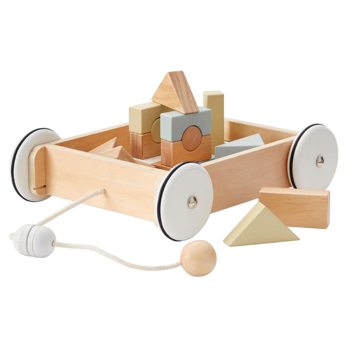 Mes premiers jouets Chariot en Bois avec Blocs Chariot en Bois avec Blocs