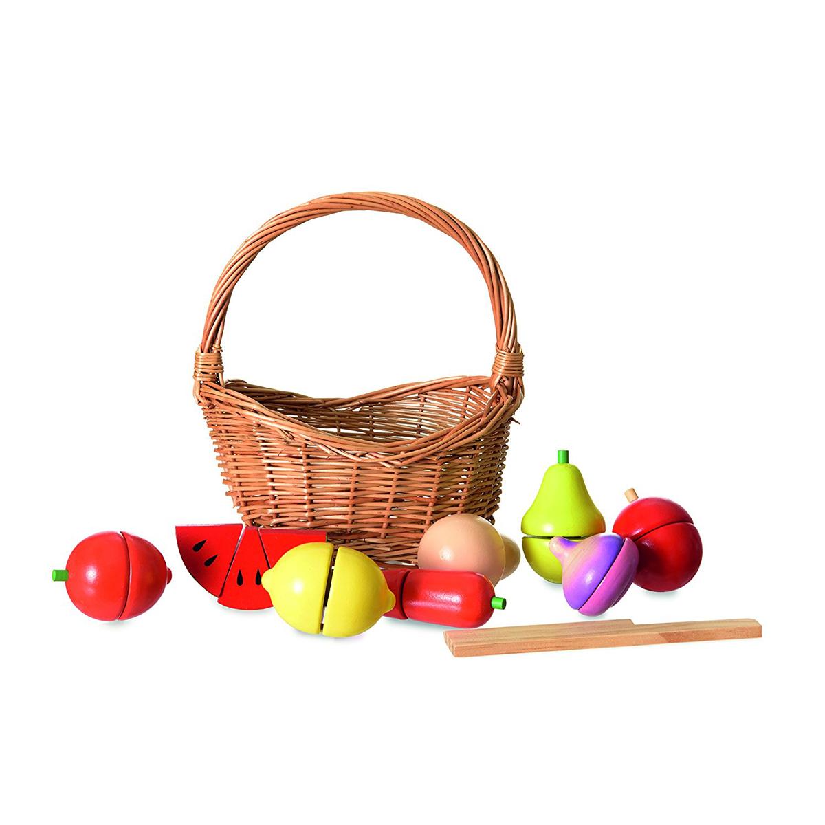 Mes premiers jouets Set de Fruits et Légumes en Bois dans son Panier Set de Fruits et Légumes en Bois dans son Panier