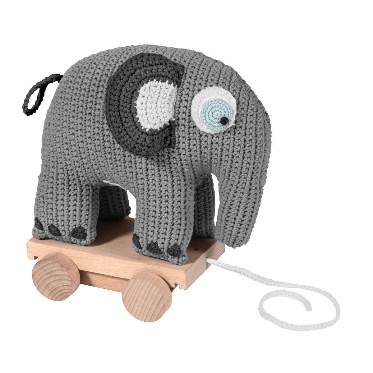 Mes premiers jouets Jouet à Tirer en Crochet - Eléphant Jouet à Tirer en Crochet - Eléphant