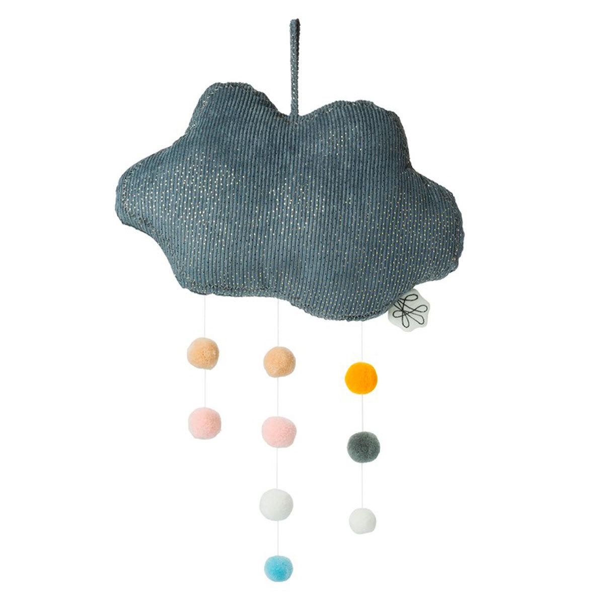 Mobile Nuage en Velours Côtelé avec Pompons - Bleu Nuage en Velours Côtelé avec Pompons - Bleu