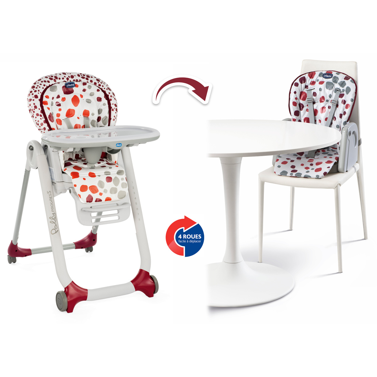 Chicco Chaise Haute Polly Progres5 Cherry Chaise Haute Chicco