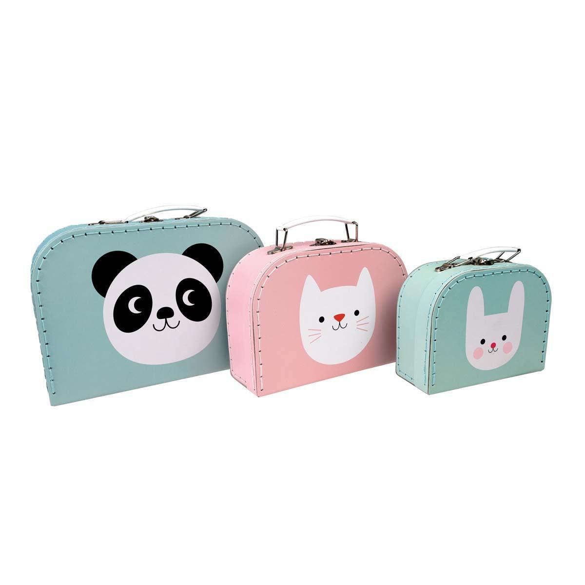 Rangement jouet Set de 3 Valisettes Panda, Chat & Lapin Set de 3 Valisettes Panda, Chat & Lapin