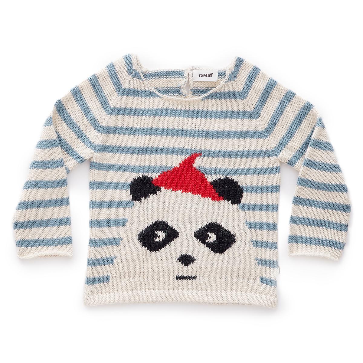 Haut bébé Pull Panda à Rayures - 12 Mois Pull Panda à Rayures - 12 Mois