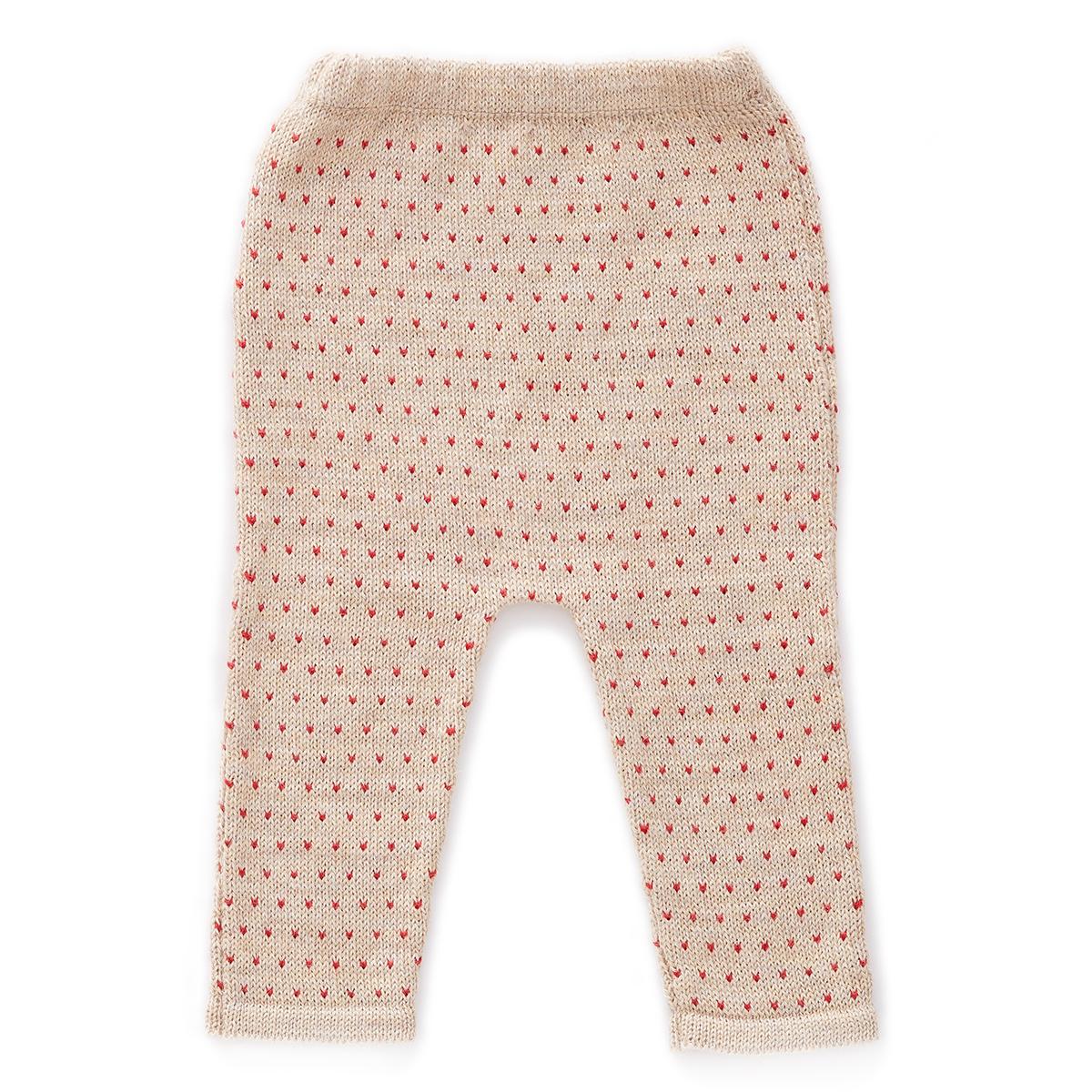 Bas Bébé Pantalon à Pois Rouges Beige - 12 Mois Pantalon à Pois Rouges Beige - 12 Mois