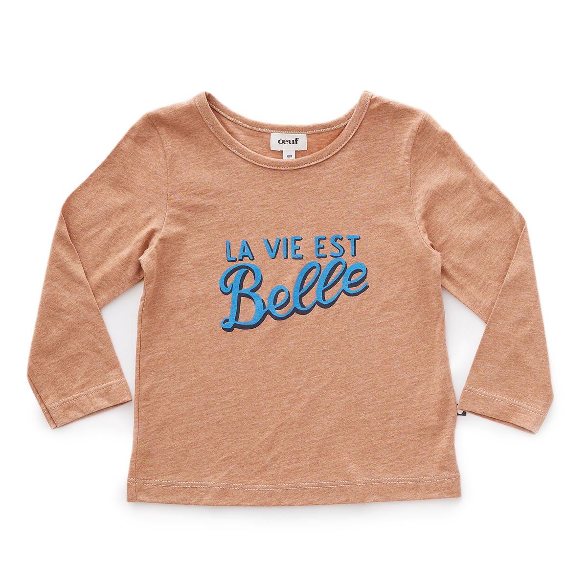 Hauts bébé Tee-shirt La Vie Est Belle Marron - 12 Mois Tee-shirt La Vie Est Belle Marron - 12 Mois