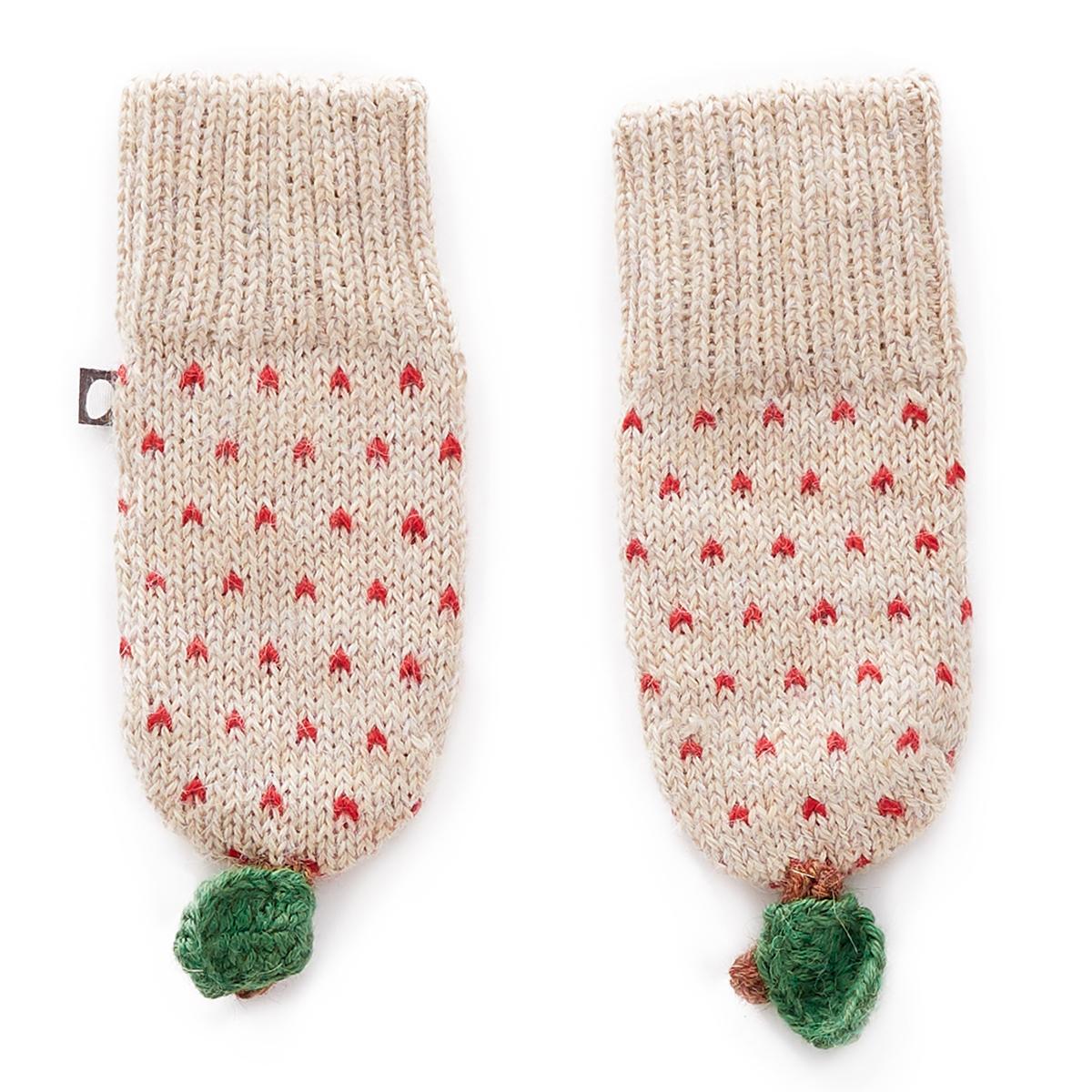 Accessoires Bébé Moufles Pomme à Pois Rouges Beige - 0/6 Mois Moufles Pomme à Pois Rouges Beige - 0/6 Mois