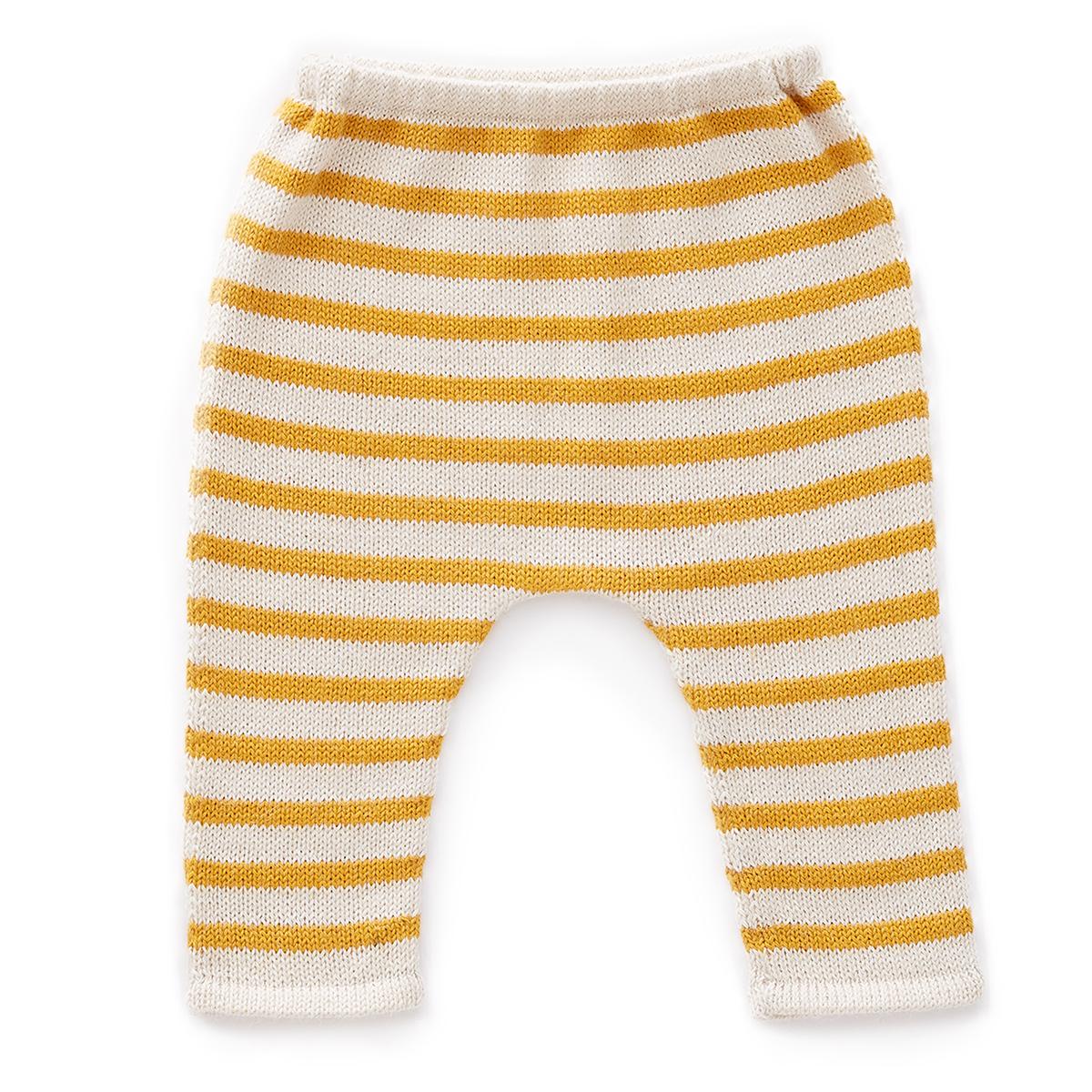 Bas Bébé Pantalon à Rayures Blanc et Mimosa - 12 Mois