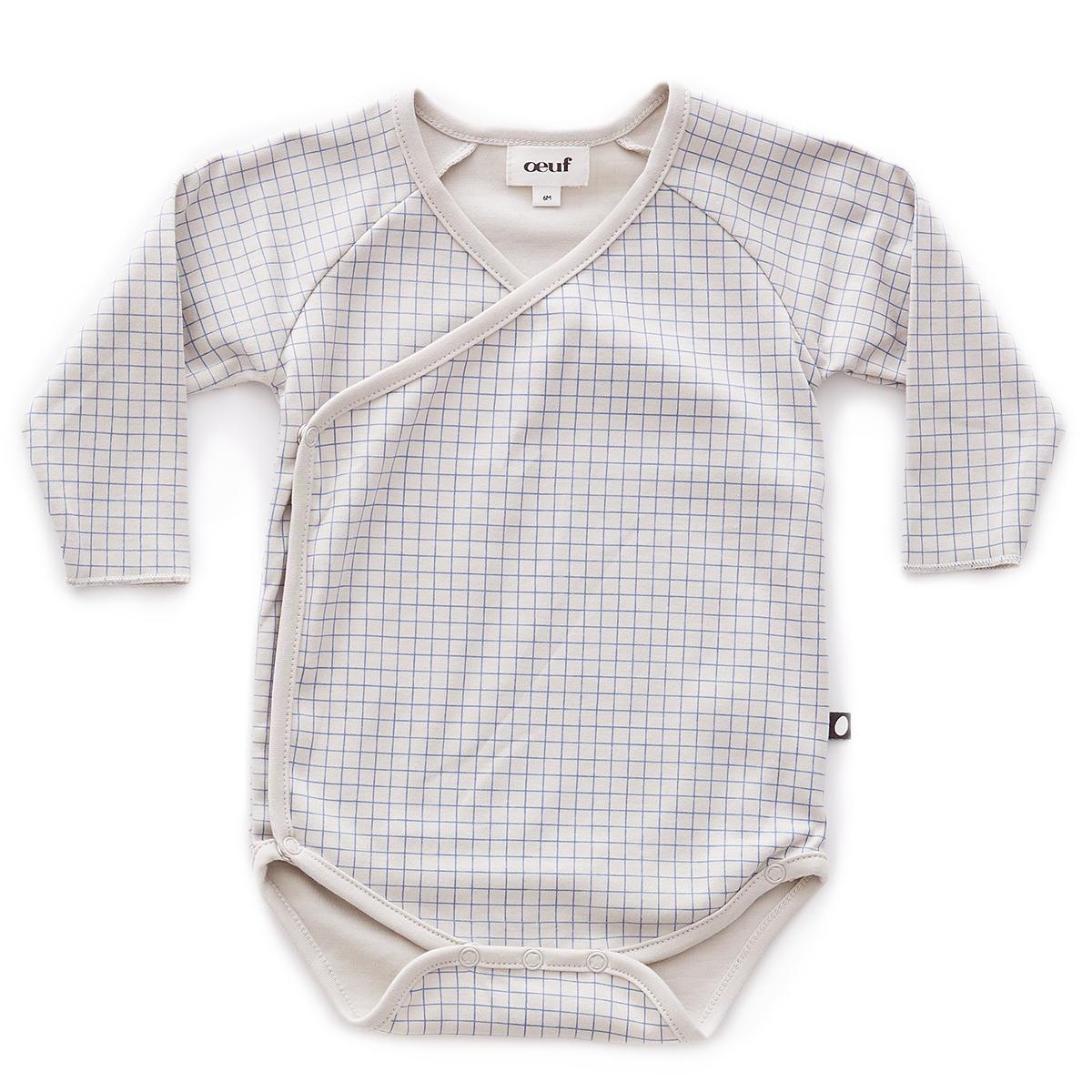 Body et Pyjama Body Croisé à Carreaux Gris et Bleu - 12 Mois Body Croisé à Carreaux Gris et Bleu - 12 Mois