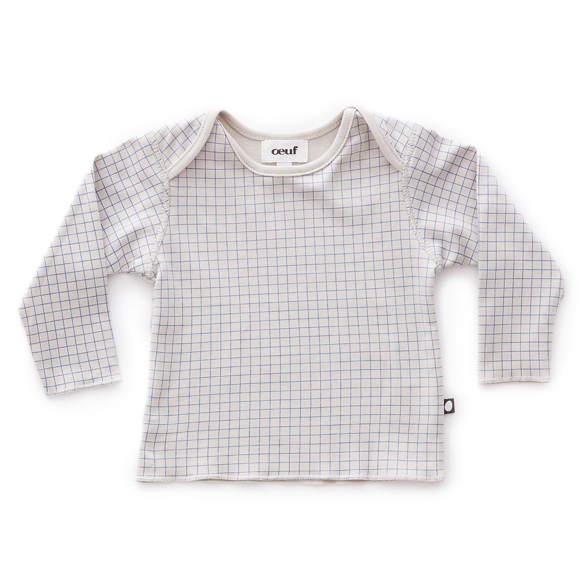 Hauts bébé Tee-shirt à Carreaux Gris et Bleu - 6 Mois