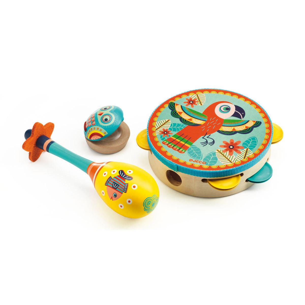 Mes premiers jouets Set de 3 Instruments Tambourin Maracas Castagnettes Set de 3 Instruments Tambourin Maracas Castagnettes