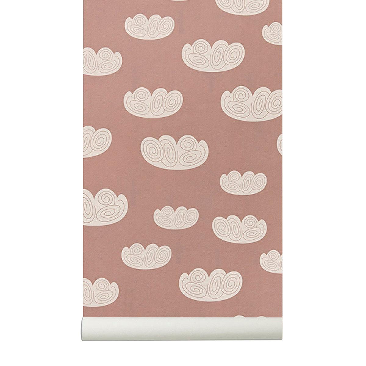 ferm living papier peint nuages rose papier peint ferm living sur l 39 armoire de b b. Black Bedroom Furniture Sets. Home Design Ideas