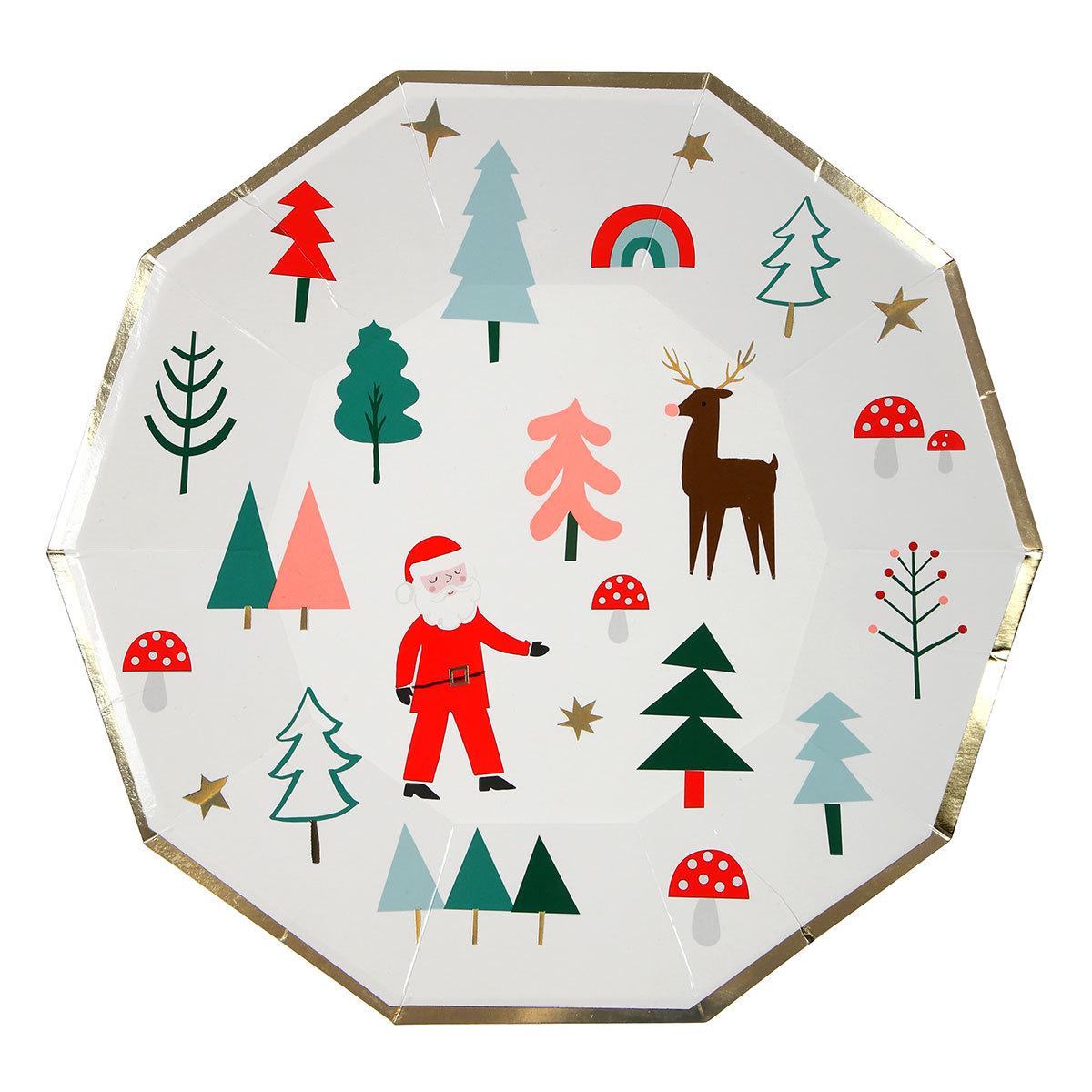 Anniversaire & Fête Lot de 8 Grandes Assiettes de Noël Lot de 8 Grandes Assiettes de Noël