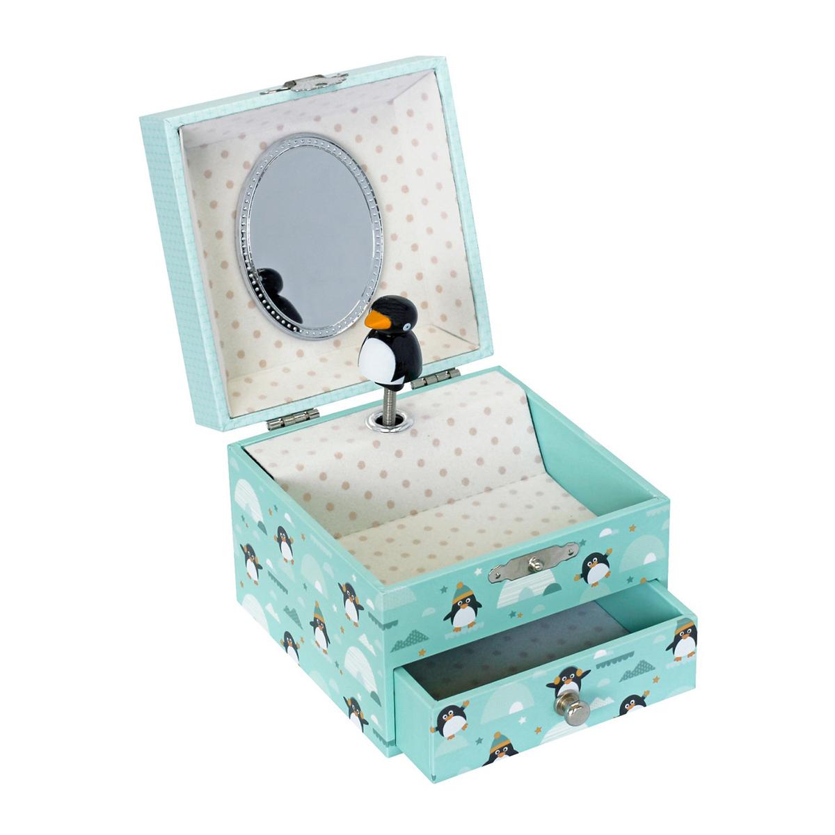 Boîte à musique Boîte à Bijoux Musicale Phosphorescente Pingouin Boîte à Bijoux Musicale Phosphorescente Pingouin