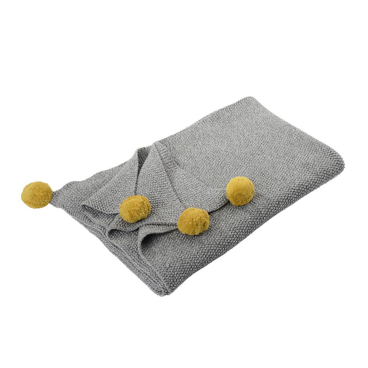 Linge de lit Couverture en Coton - Grise Pompons Jaunes Couverture en Coton - Grise Pompons Jaunes