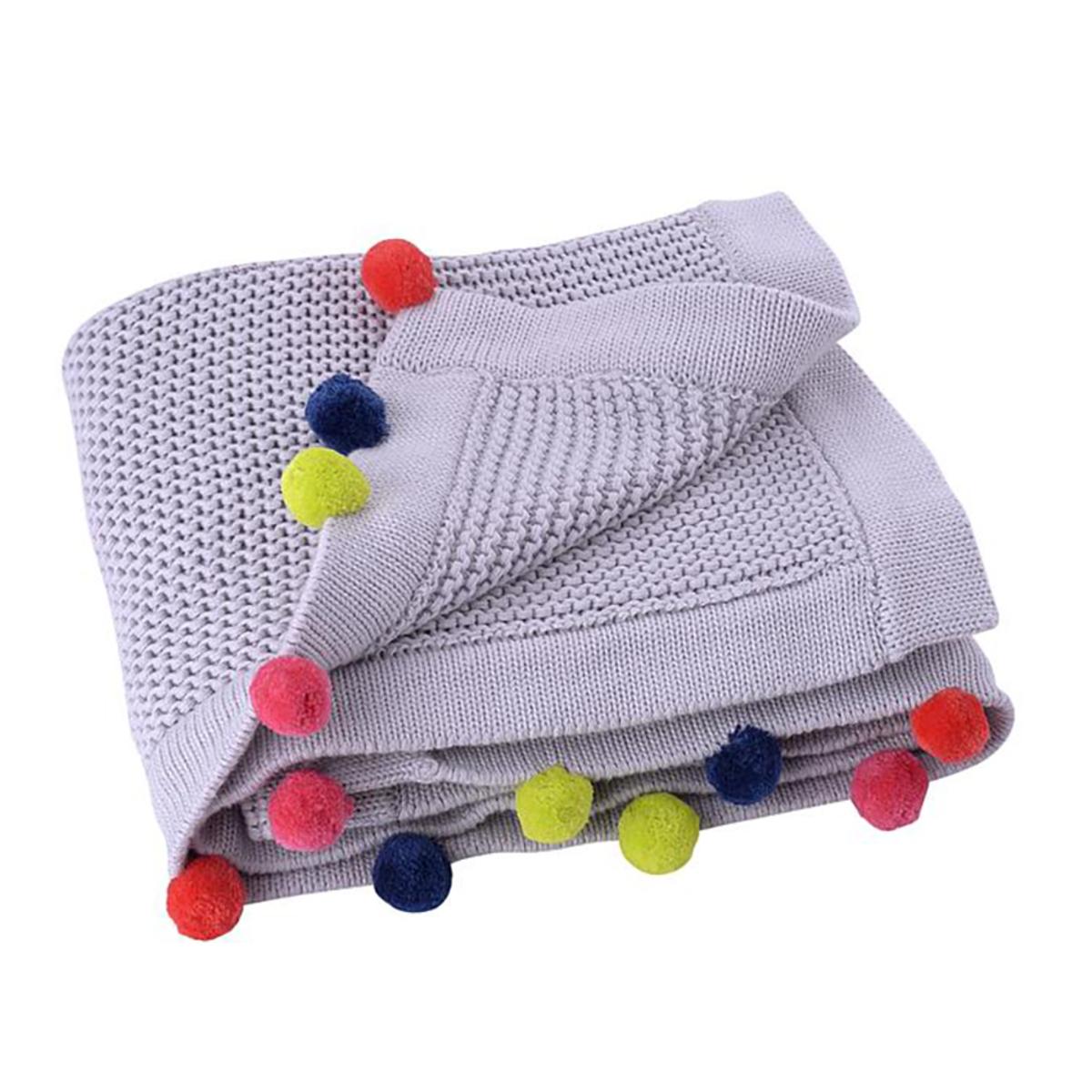 Linge de lit Couverture en Coton - Grise Pompons Multicolores Couverture en Coton - Grise Pompons Multicolores