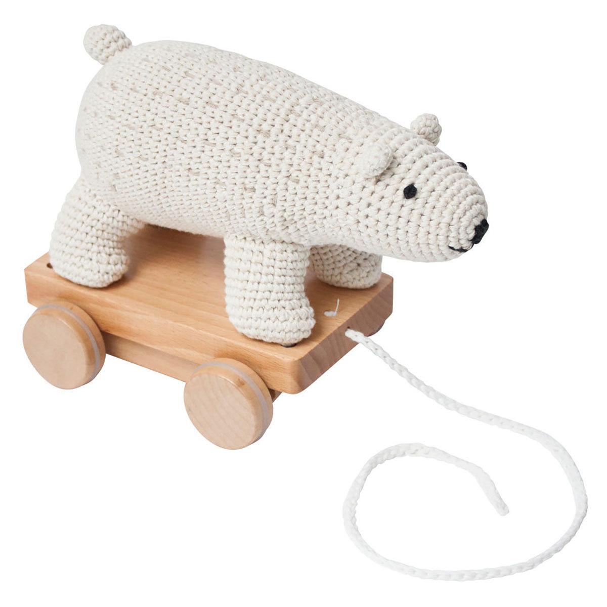 Mes premiers jouets Jouet à Tirer en Crochet - Ours Polaire