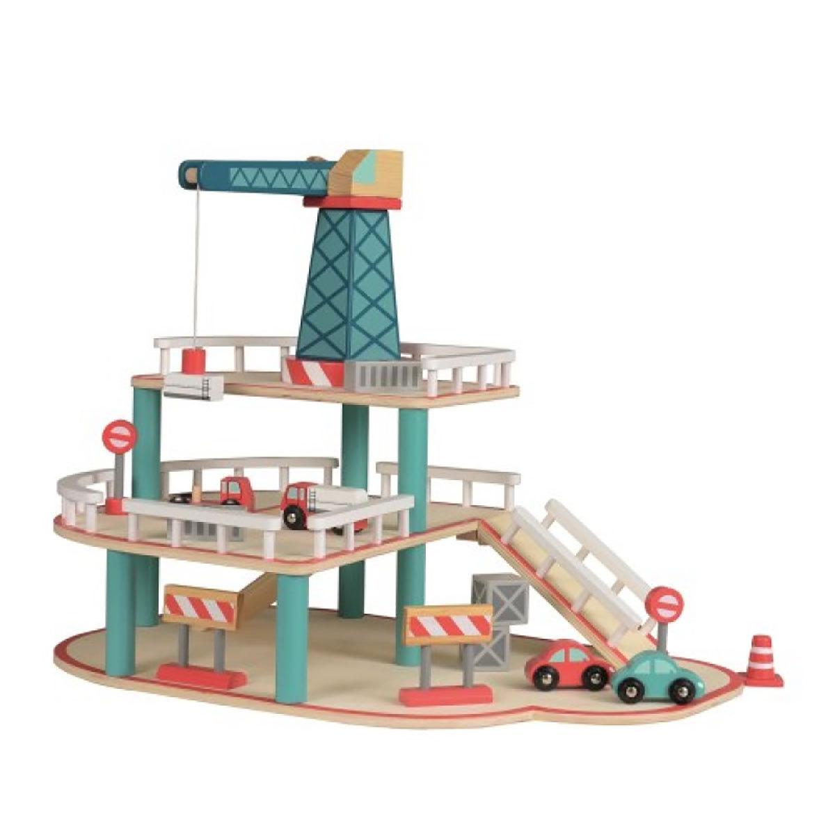 Mes premiers jouets Garage en Bois avec Grue Garage en Bois avec Grue