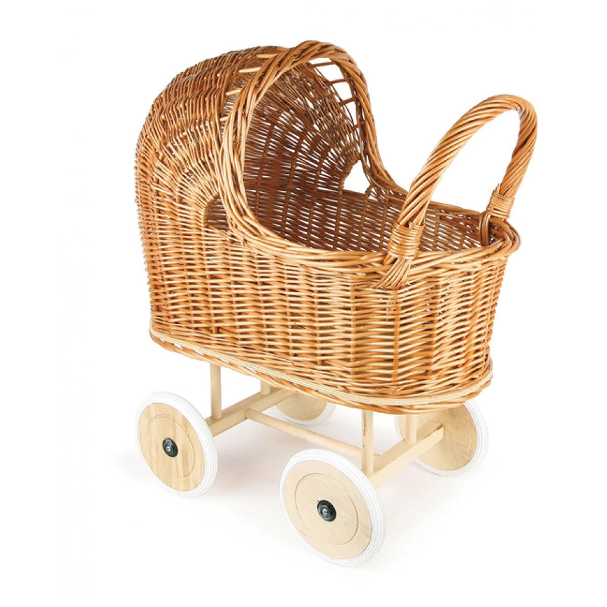Mes premiers jouets Landau Osier Roues en Caoutchouc et Garniture Landau Osier Roues en Caoutchouc et Garniture