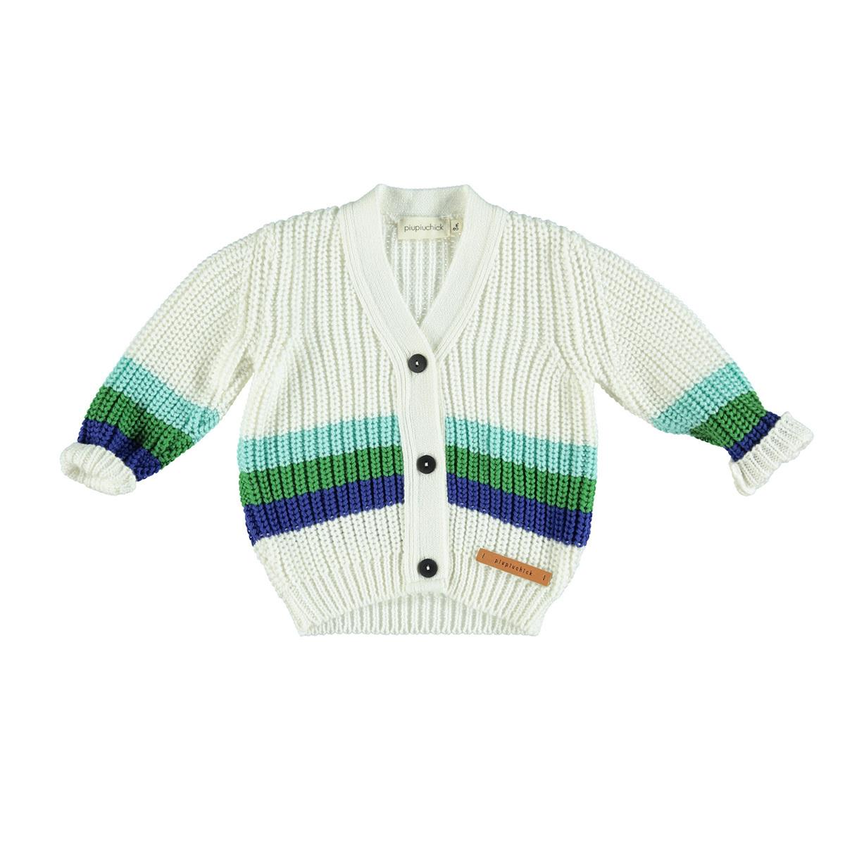 Haut bébé Gilet Ecru Rayé Vert et Bleu - 24 Mois Piupiuchick - AR201810010168