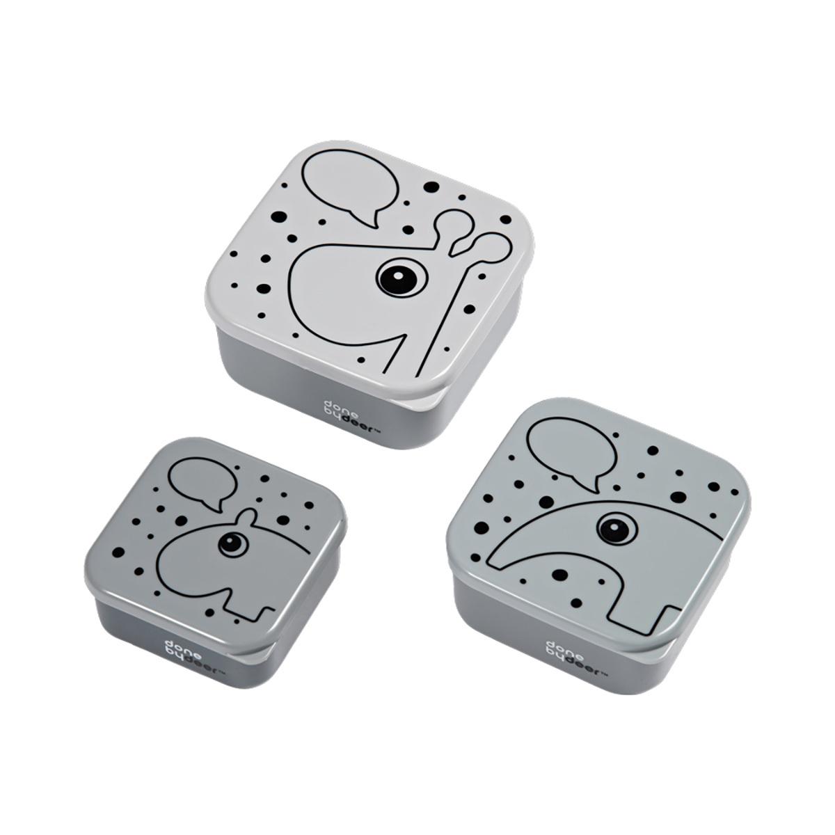 Vaisselle & Couvert Set de 3 Boîtes à Goûter Gigognes - Gris Set de 3 Boîtes à Goûter Gigognes - Gris