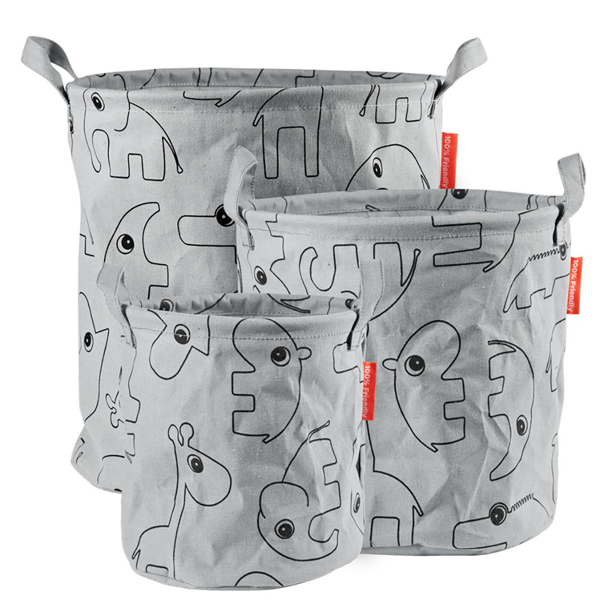 Panier & corbeille Pack de 3 Paniers de Rangement Contour - Gris Pack de 3 Paniers de Rangement Contour - Gris