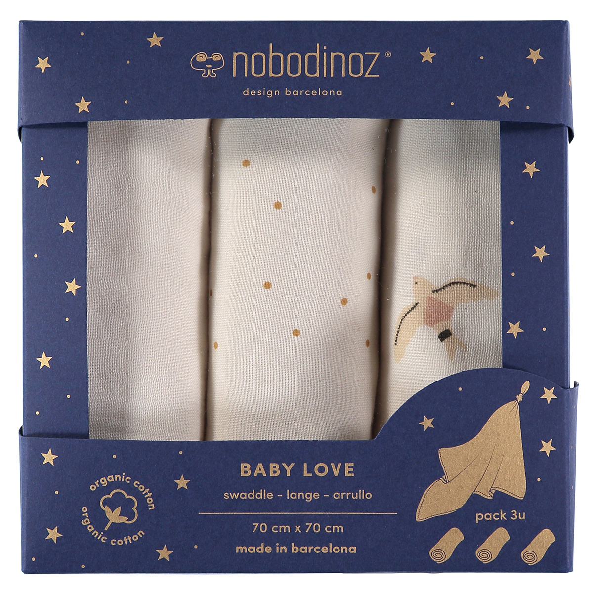 Lange Lot de 3 Langes Baby Love - Haiku Birds