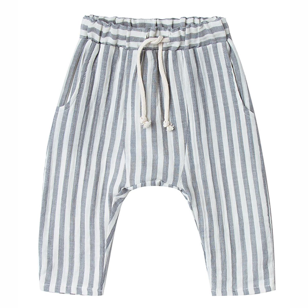 Bas bébé Pantalon à Rayures - Gris - 6/12 Mois