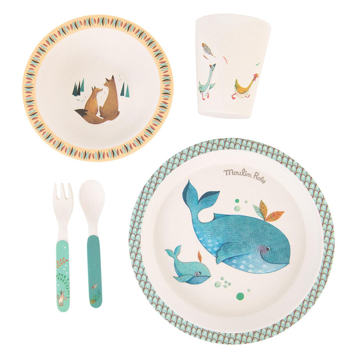 Coffret repas Set Vaisselle 5 Pièces Bambou - Le Voyage d'Olga Set Vaisselle 5 Pièces Bambou - Le Voyage d'Olga
