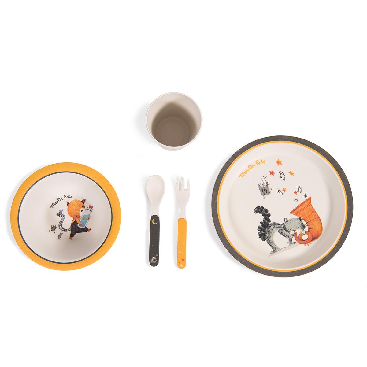 Coffret repas Set Vaisselle 5 Pièces Bambou - Les Moustaches Set Vaisselle 5 Pièces Bambou - Les Moustaches