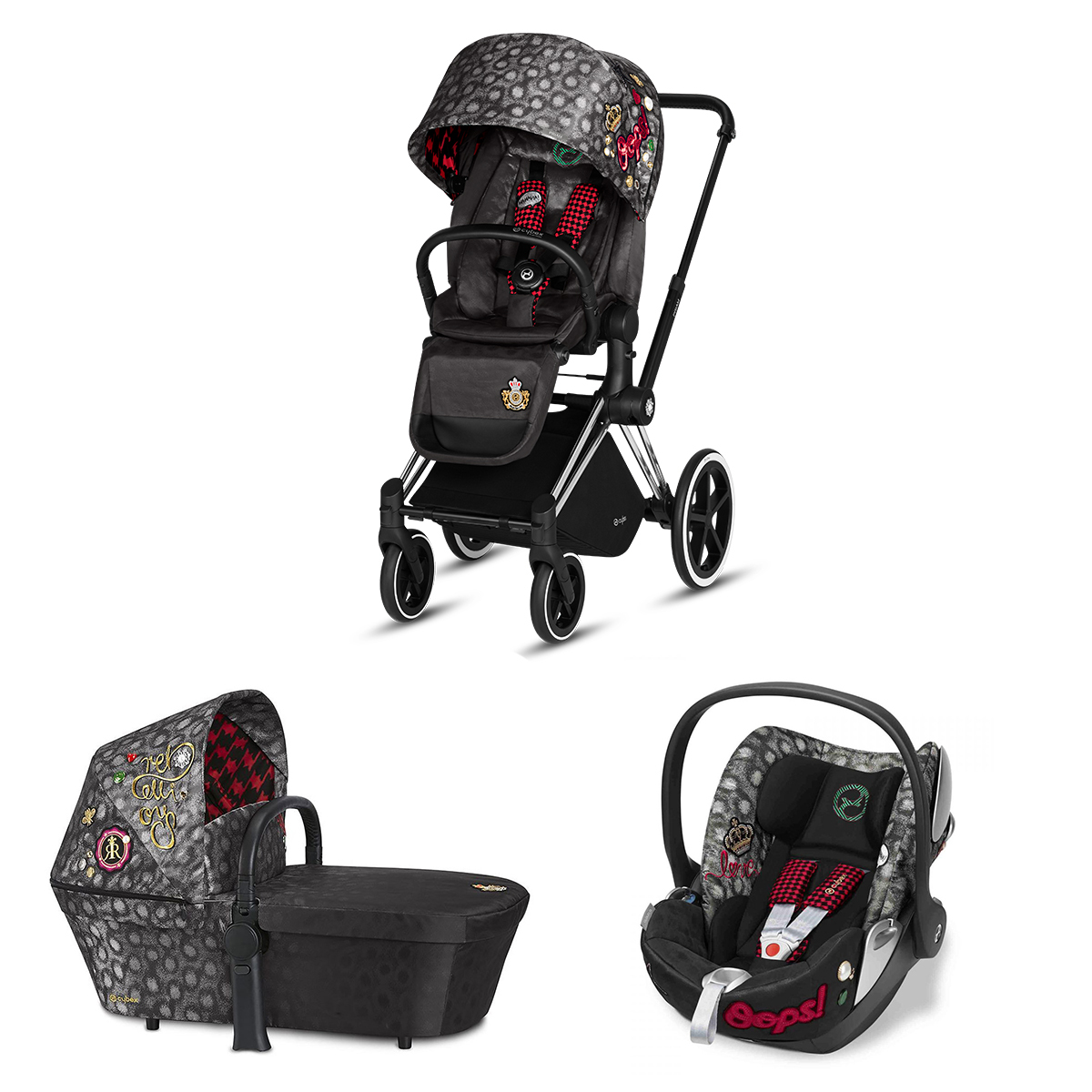 Poussette combinée Poussette Trio Priam Chrome Nacelle Luxe et Siège Auto Cloud Q Fashion Collection - Rebellious Multicolor Poussette Trio Priam Chrome + Nacelle de Luxe Priam + Siège Auto Cloud Q Plus Isofix Fashion Collection - Rebellious Multicolor