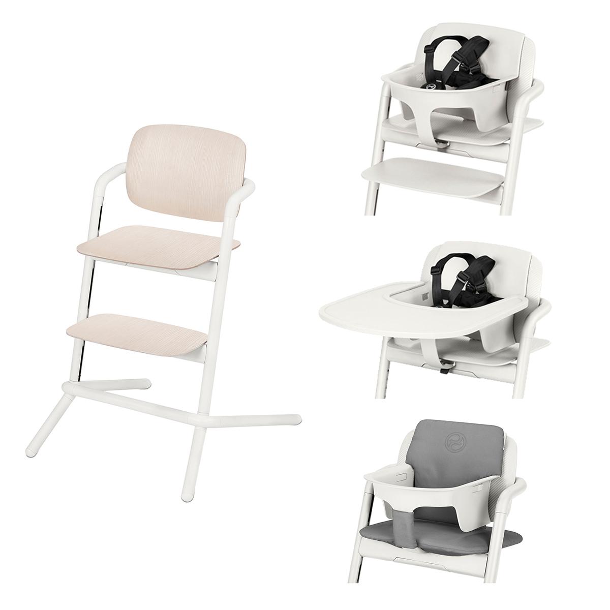 Chaise haute Chaise Haute Lemo Bois Complète - Porcelaine White Chaise Haute Lemo Bois + Plateau pour Chaise Haute Lemo + Baby Set Lemo + Coussin Réducteur Lemo - Porcelaine White