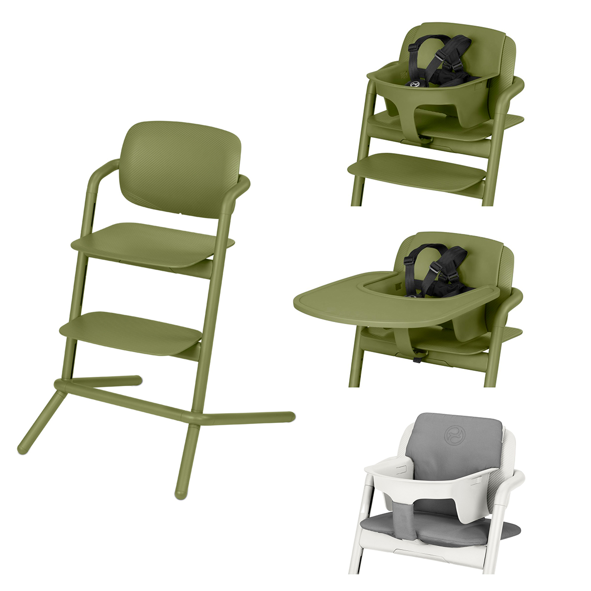 Chaise haute Chaise Haute Lemo Complète - Outback Green Chaise Haute Lemo + Plateau pour Chaise Haute Lemo + Baby Set Lemo + Coussin Réducteur Lemo - Outback Green