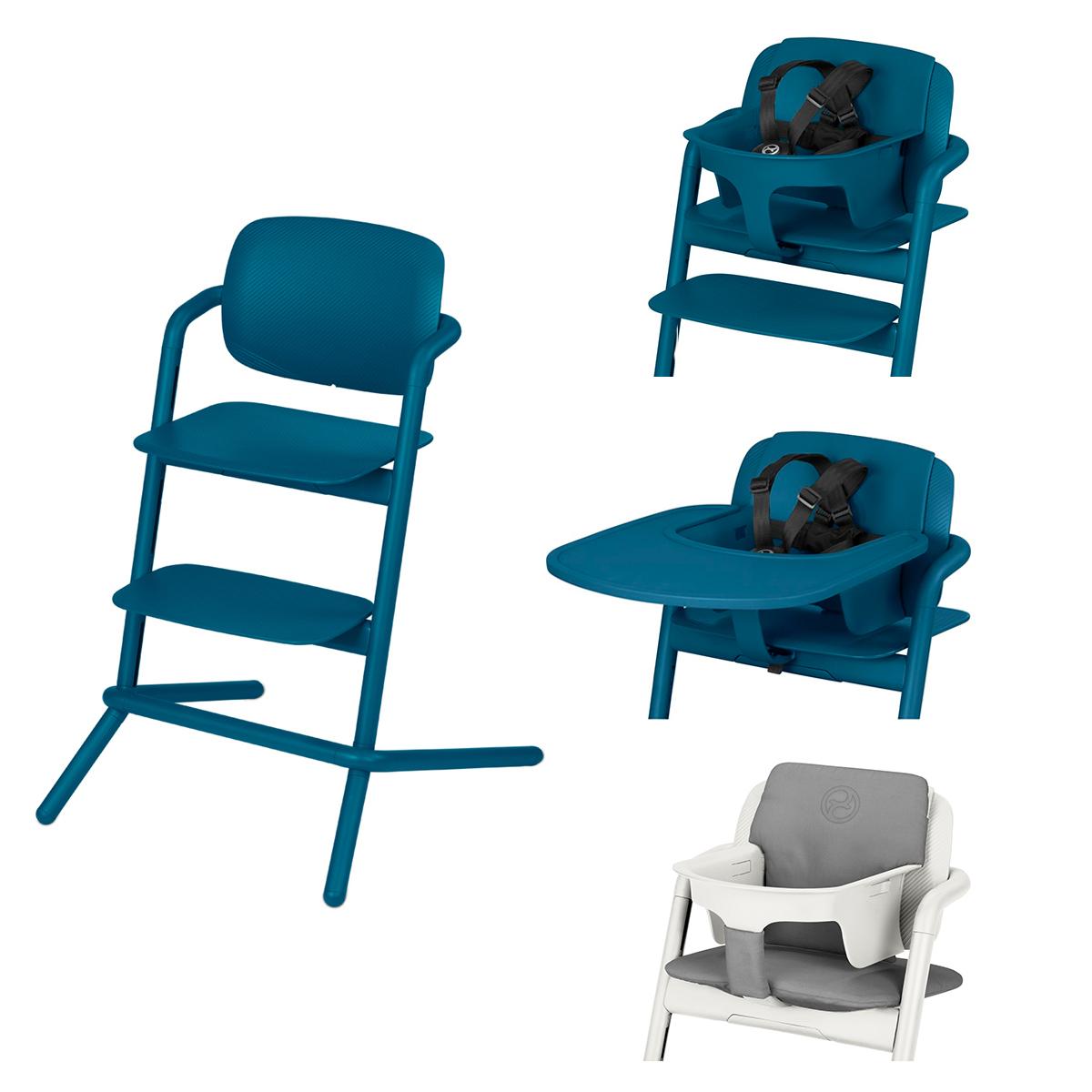 Chaise haute Chaise Haute Lemo Complète - Twilight Blue Chaise Haute Lemo + Plateau pour Chaise Haute Lemo + Baby Set Lemo + Coussin Réducteur Lemo - Twilight Blue