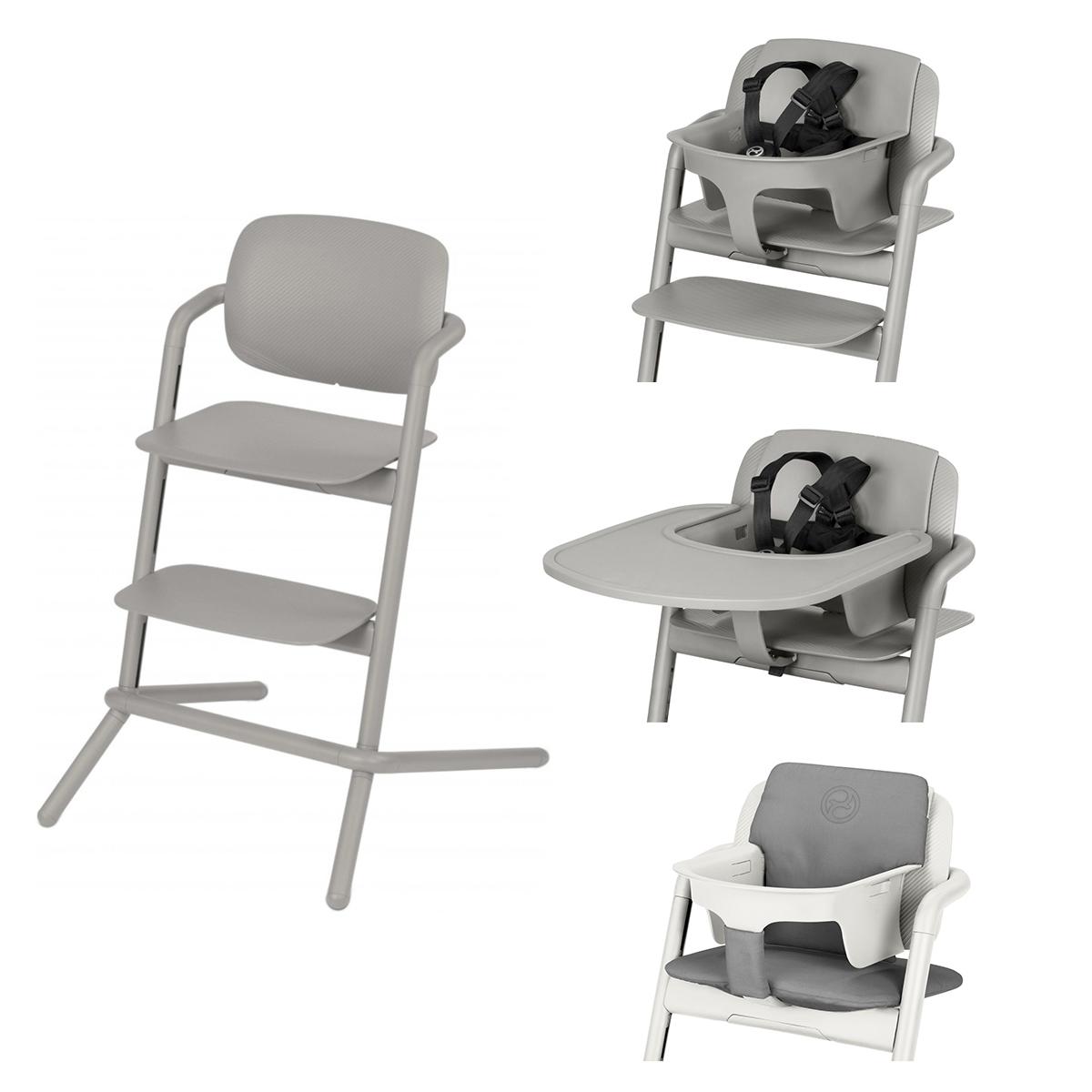Chaise haute Chaise Haute Lemo Complète - Storm Grey Chaise Haute Lemo + Plateau pour Chaise Haute Lemo + Baby Set Lemo + Coussin Réducteur Lemo - Storm Grey