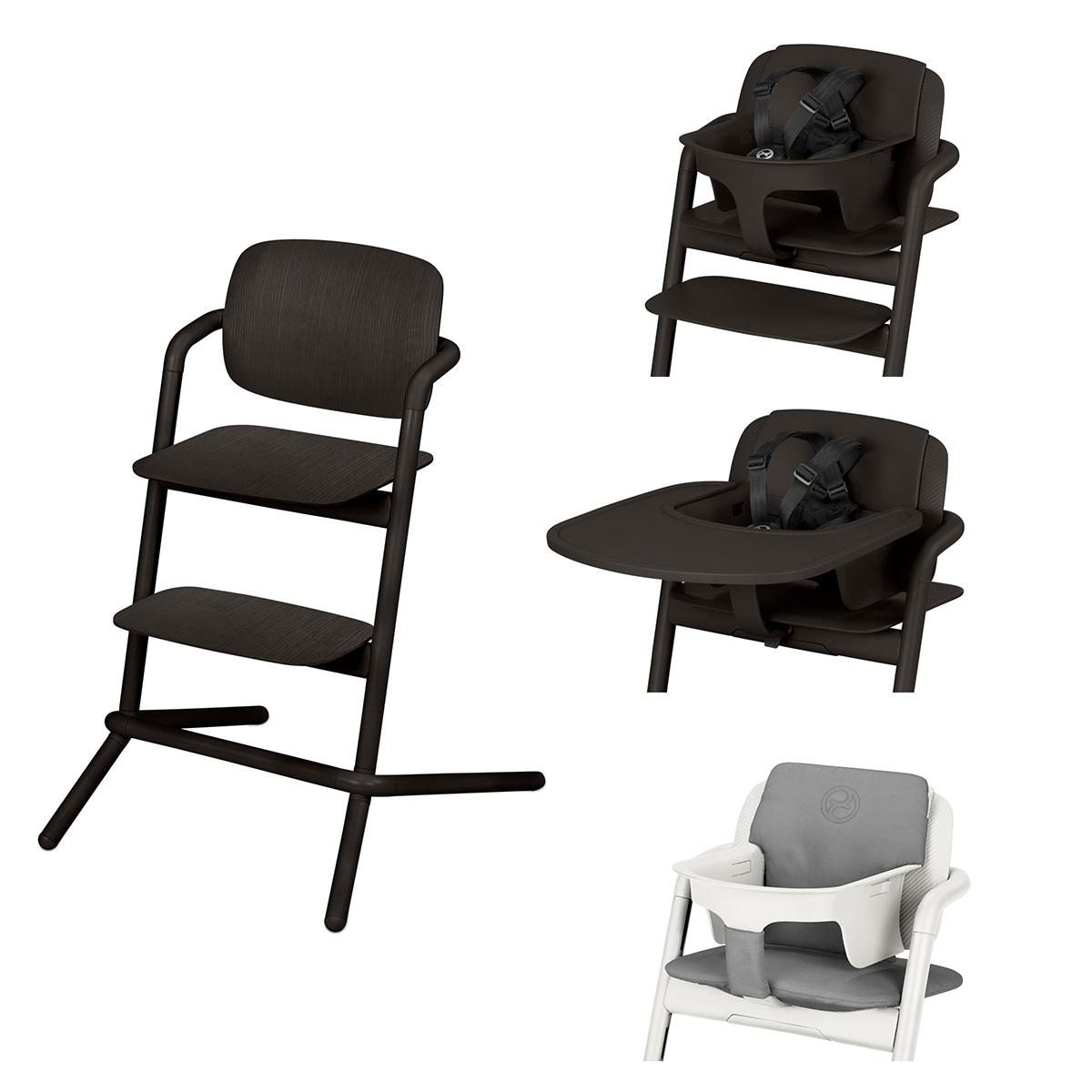 Chaise haute Chaise Haute Lemo Bois Complète - Infinity Black Chaise Haute Lemo Bois + Plateau pour Chaise Haute Lemo + Baby Set Lemo + Coussin Réducteur Lemo - Infinity Black