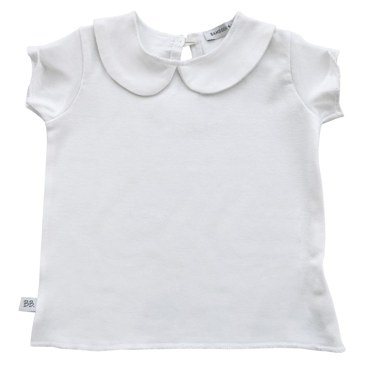 Haut bébé Tee-Shirt Col Claudine Blanc - 18 Mois Tee-Shirt Col Claudine Blanc - 18 Mois