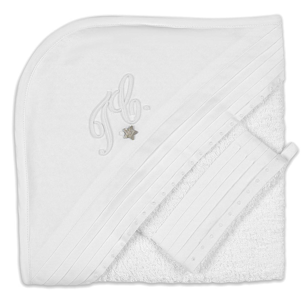 Linge & Sortie de bain Cape de Bain et Gant Monogramme - Blanc