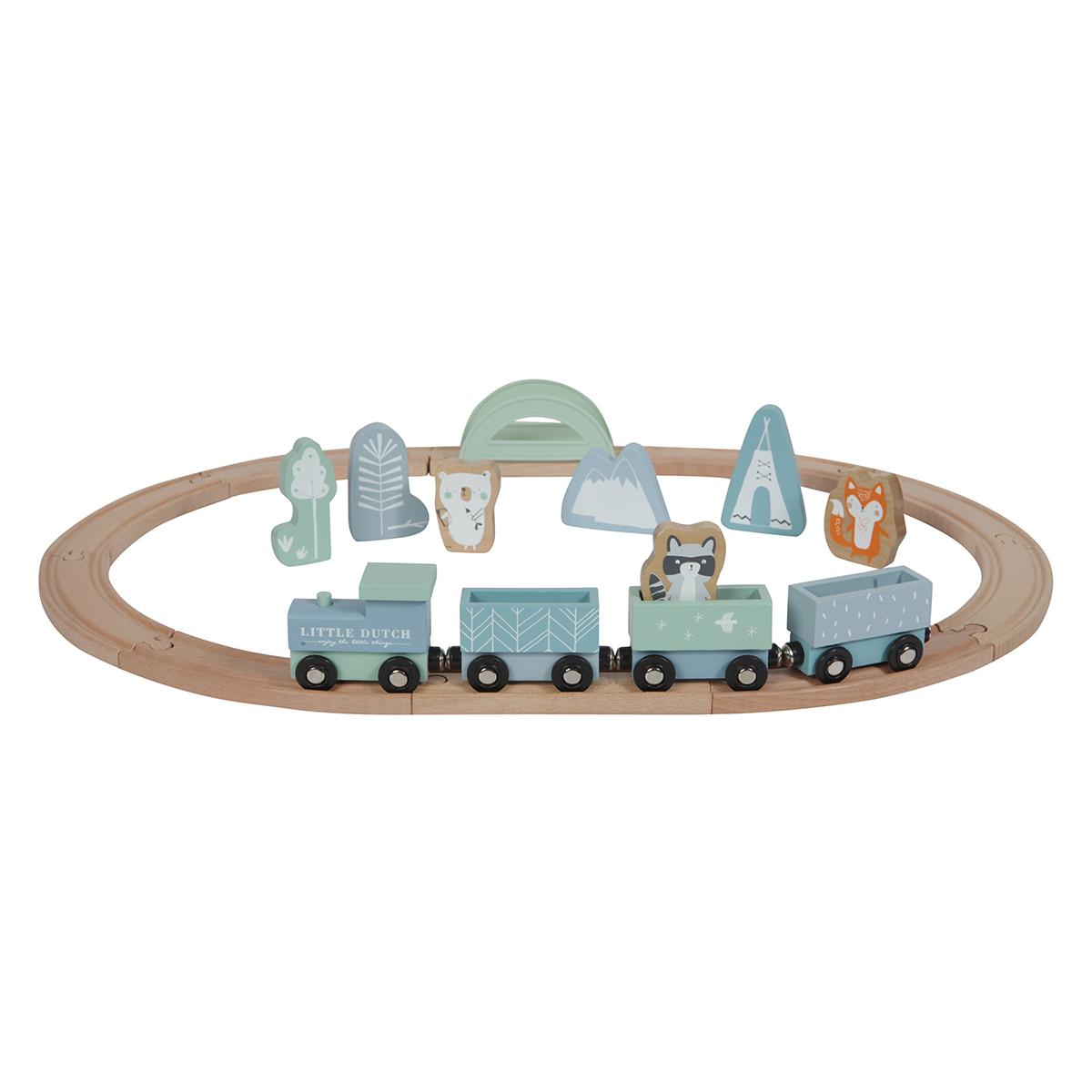 Mes premiers jouets Circuit Train en Bois - Bleu Circuit Train en Bois - Bleu