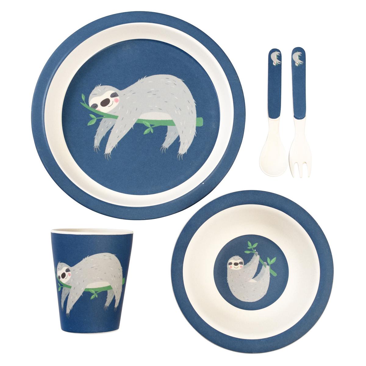 Coffret repas Set Repas 5 Pièces Bambou - Sydney le Paresseux Set Repas 5 Pièces Bambou - Sydney le Paresseux