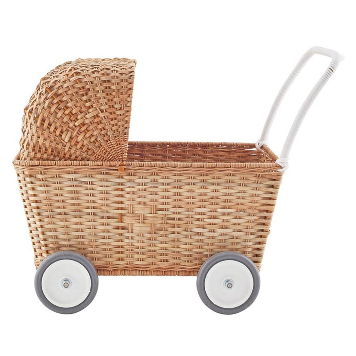 Mes premiers jouets Landau Chariot Strolley en Rotin Naturel Landau Chariot Strolley en Rotin Naturel