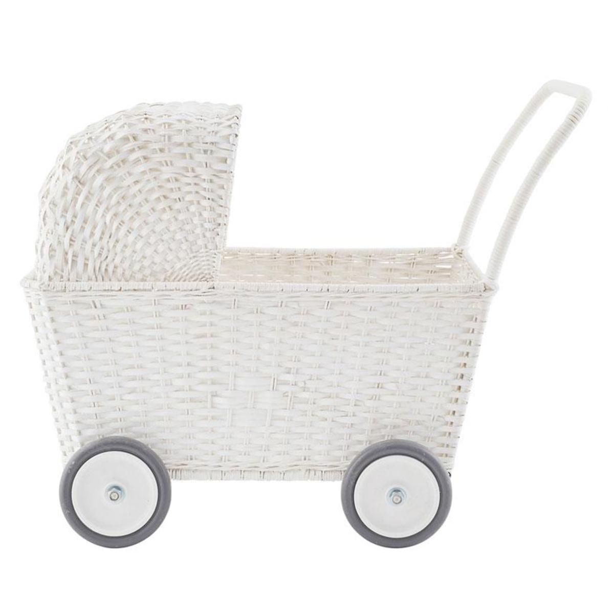 Mes premiers jouets Landau Chariot Strolley en Rotin Blanc Landau Chariot Strolley en Rotin Blanc