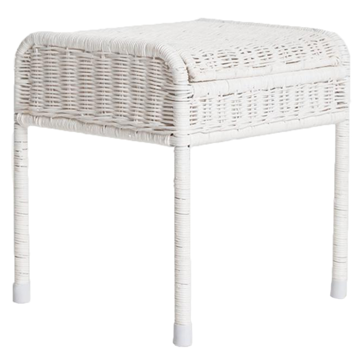 Table & Chaise Bureau Coffre Enfant en Rotin - Blanc