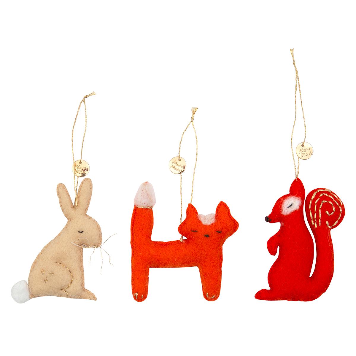 Objet décoration Lot de 3 Déco de Noël - Animaux de la Forêt
