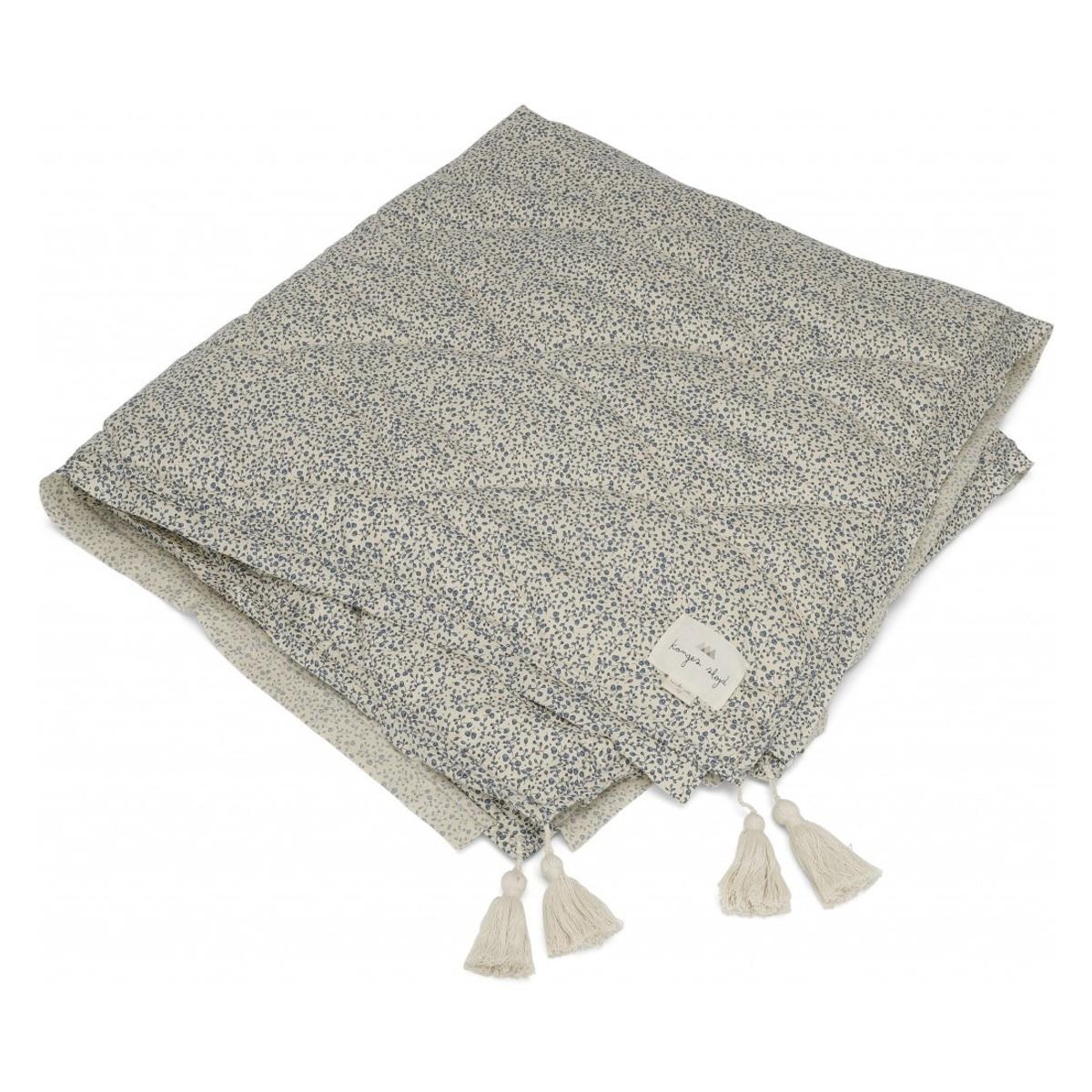 Linge de lit Couverture en Coton Bio - Blue Blossom Mist
