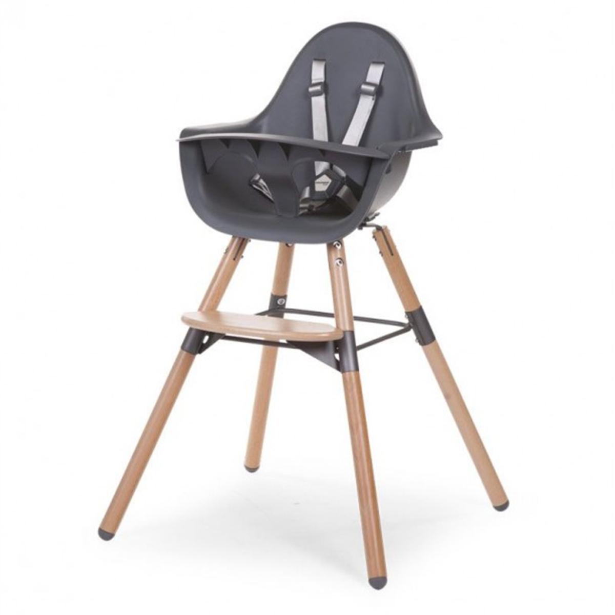 Chaise haute Chaise Haute Evolu 2 Pieds Bois - Anthracite Chaise Haute Evolu 2 Pieds Bois - Anthracite