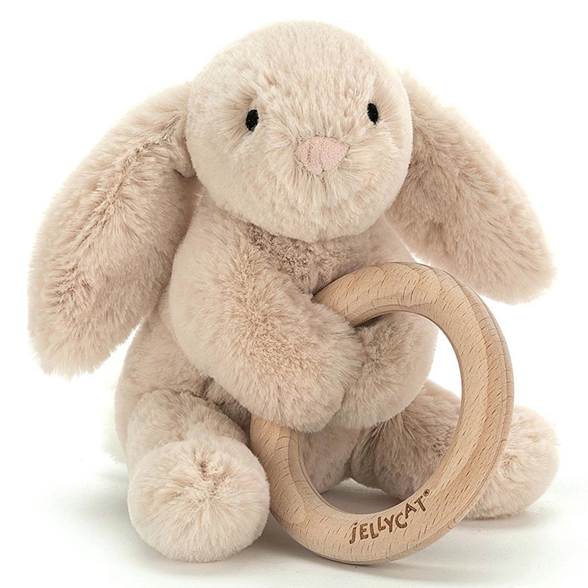 Hochet Hochet Shooshu Bunny avec Anneau en Bois Hochet Shooshu Bunny avec Anneau en Bois