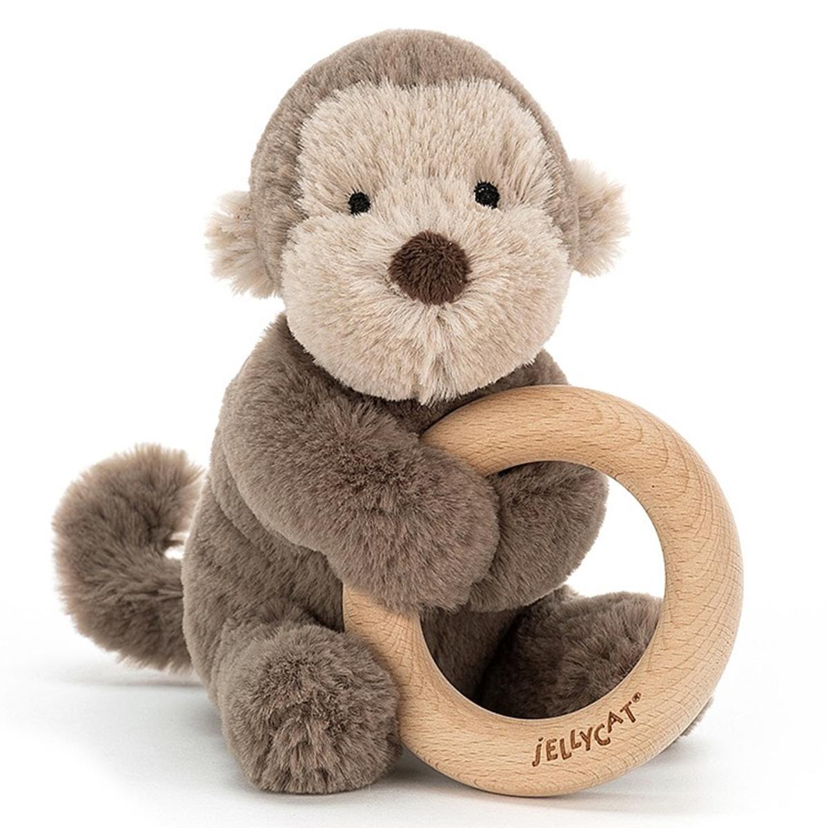 Hochet Hochet Shooshu Monkey avec Anneau en Bois