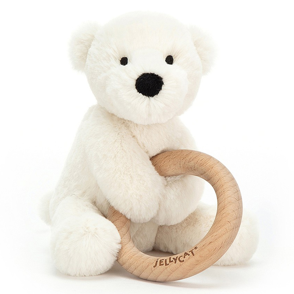 Hochet Hochet Shooshu Perry Polar Bear avec Anneau en Bois Hochet Shooshu Perry Polar Bear avec Anneau en Bois